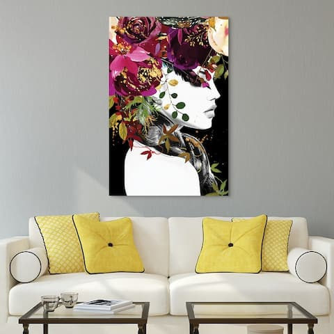 """""""Beautiful Women & Flowers"""" Frameless Free Floating Tempered Glass Panel Graphic Wall Art 24 in. x 24 in."""