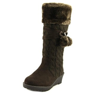 Michael Michael Kors Kendall Update Youth Round Toe Canvas Brown Knee High Boot
