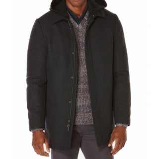 Perry Ellis NEW Charcoal Gray Mens Size Large L Full-Zip Wool Peacoat