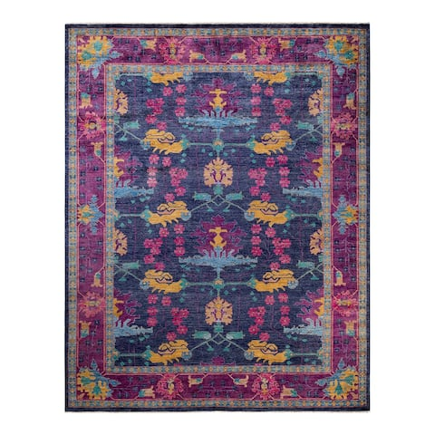 """Arts & Crafts, One-of-a-Kind Hand-Knotted Area Rug - Blue, 9' 2"""" x 11' 7"""" - 9' 2"""" x 11' 7"""""""