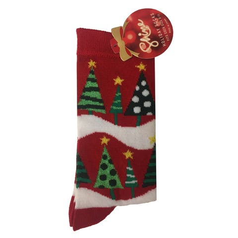 Shine Women's 1-Pair Christmas Holiday Crew Socks - 9-11