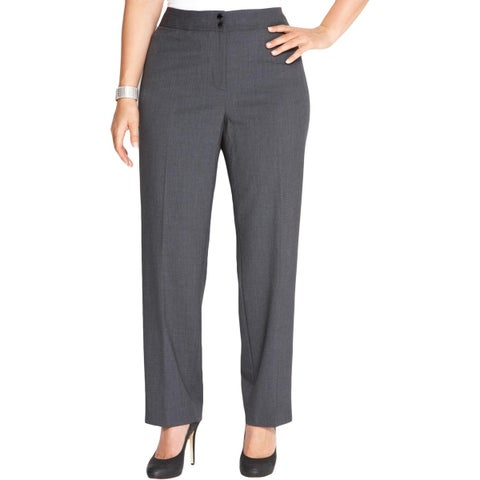 Calvin Klein Womens Plus Dress Pants Heathered Flat Front