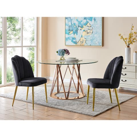Chic Home Cherisa Channel Quilted Velvet Upholstered Dining Chair (Set of 2) - N/A