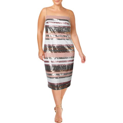 Vince Camuto Womens Cocktail Dress Sequined Stripe - Pink Multi