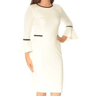 Womens White Bell Sleeve Below The Knee Sheath Wear To Work Dress Size: 6
