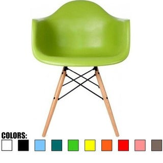 2xhome Green Eames Dining Room Arm Chair With Natural Wood Eiffel Style Legs