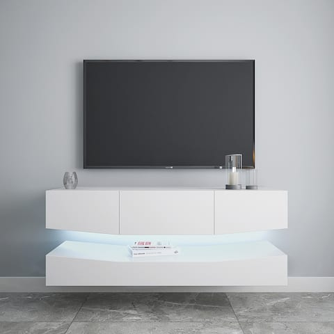 Wall Mounted Floating TV Stand with 20 Color LEDs White