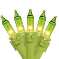 "Set of 50 Apple Green Mini Christmas Lights 4.25"" Spacing- Green Wire"