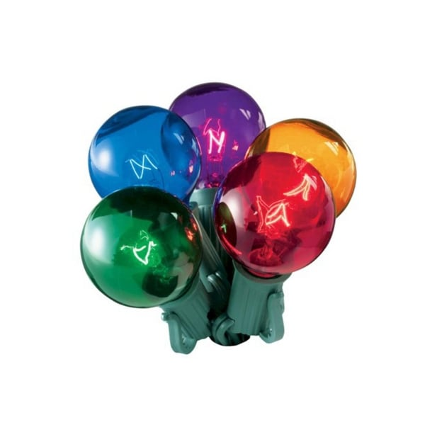Set of 20 Multi-Color Transparent G40 Globe Christmas Lights - Green Wire
