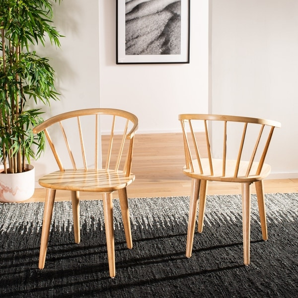 """Safavieh Dining Country Blanchard Natural Wood Dining Chairs (Set of 2) - 21.3"""" x 20.5"""" x 29.9"""". Opens flyout."""