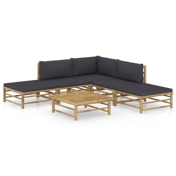vidaXL 6 Piece Garden Lounge Set with Dark Gray Cushions Bamboo. Opens flyout.