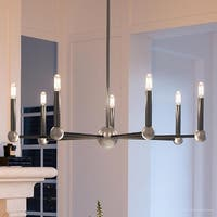 "Luxury Modern Chandelier, 7.625""H x 32""W, with Moroccan Style, Charcoal  Finish by Urban Ambiance"