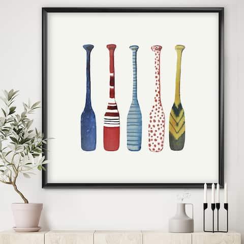 Designart 'Five Paddles' Lake House Framed Art Print