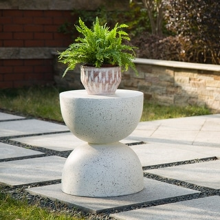 "Link to Glitzhome 18""H Modern Multi-functional MGO Faux Terrazzo Garden Stool Plant Stand Accent Table Similar Items in Living Room Furniture"