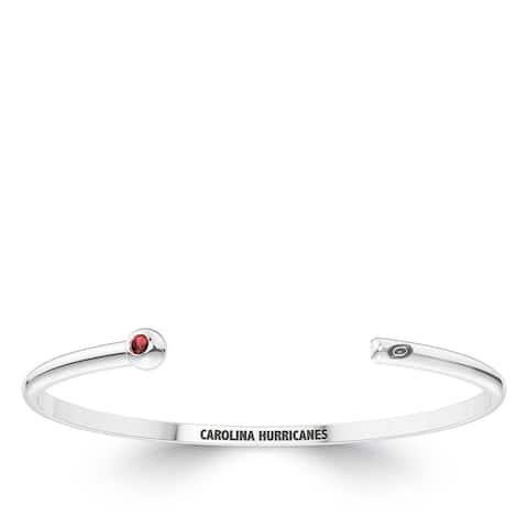 Carolina Hurricanes Engraved Sterling Silver Ruby Cuff Bracelet
