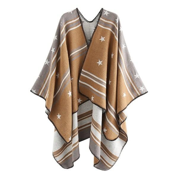 QZUnique Womens Sweater Shawl Cardigan Cloak Loose Poncho Striped Wrap