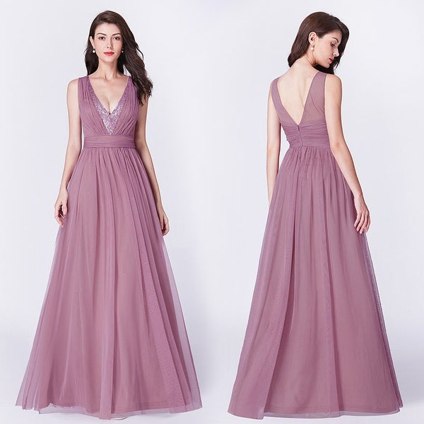 Ever-Pretty Womens Sequin Tulle V-Neck Long Evening Prom Party Dress 07455