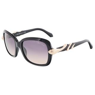 Roberto Cavalli RC879S/S 01B LESATH Shiny Black Rectangle sunglasses
