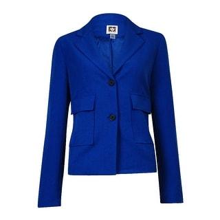 Anne Klein Women's Patch-Pocket Notch Woven Blazer (8, Raven Blue) - 8