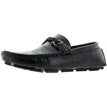 Marco Vitale Mens Driving Moc Buckle Print Shoe,Black,8