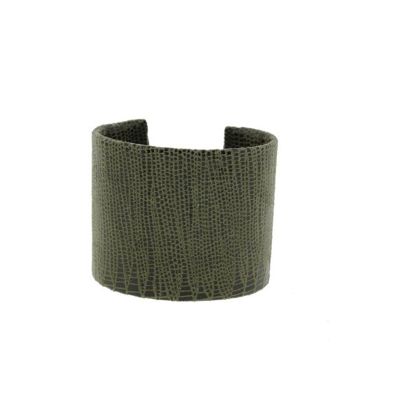 A.V. Max Womens Cuff Bracelet Leather Embossed - olive