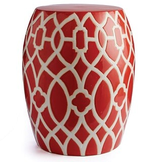 Napa Home and Garden SR227 Trellis 14 Inch Wide Ceramic Accent Stool - Red - N/A