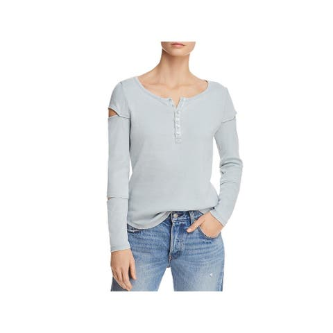 Chaser Womens Pullover Top Cut-Out Ribbed Knit