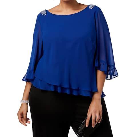 Alex Evenings Womens Blouse Royal Blue Size 2X Plus Chiffon Embellished