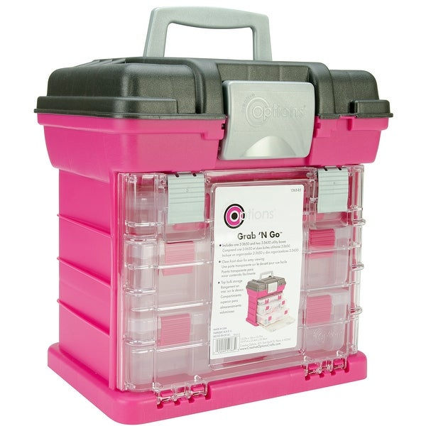 """Creative Options Grab'n Go 3-By Rack System-13""""X10""""X14"""" Magenta & Sparkle Gray - Pink"""