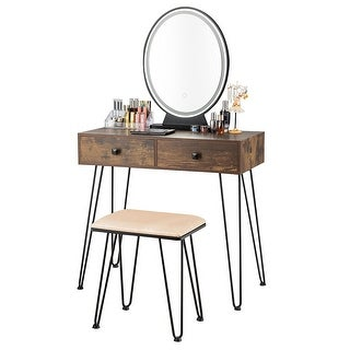 Link to Costway Vanity Makeup Dressing Table W/ 3 Lighting Modes Mirror Touch - See Details Similar Items in Bedroom Furniture