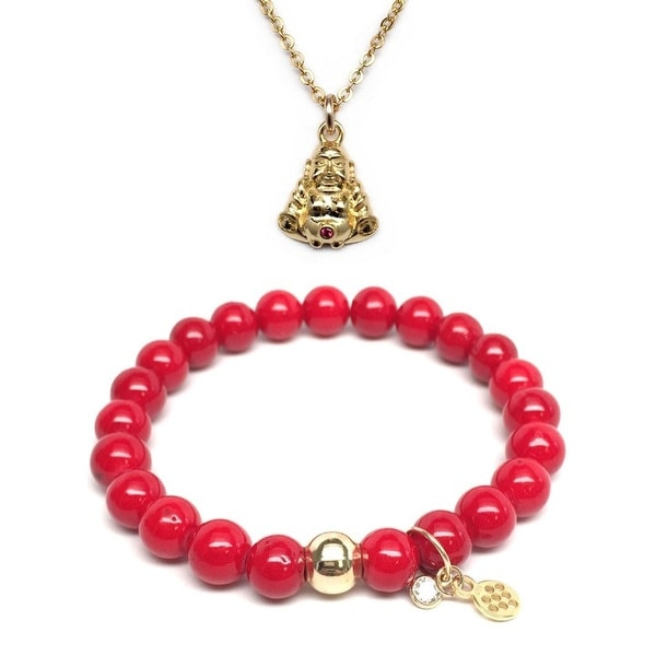 "Red Jade 7"" Bracelet & CZ Buddha Gold Charm Necklace Set"