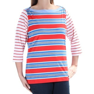 TOMMY HILFIGER $49 Womens New 1445 Red Blue Striped 3/4 Sleeve Top 0 B+B