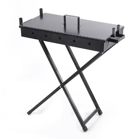 The Your Choice Portable Folding Carbon-Steel Hibachi Grill with Lid for Camping, Grilling, Tailgating. Black
