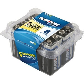 Rayovac Reclosable Pro Pack 9 V Alkaline Batteries, 9 V, Pack of 8