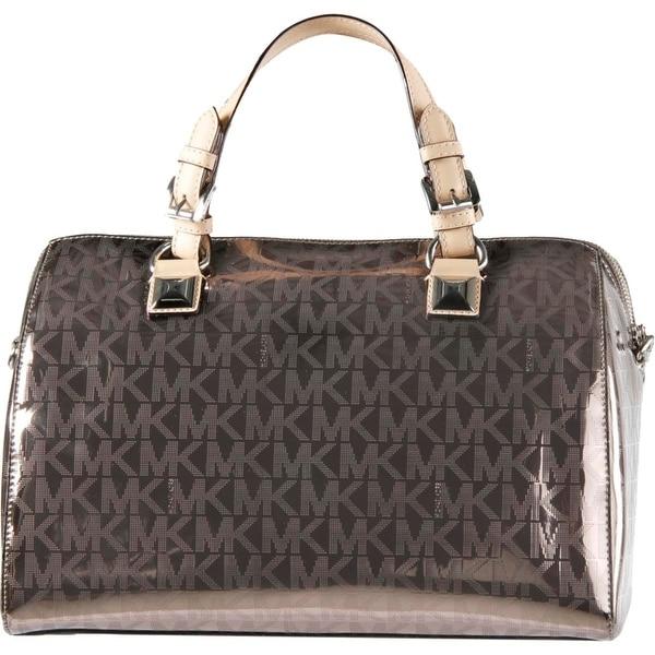 MICHAEL Michael Kors Womens Grayson Mirror Metallic Convertible Satchel Handbag - Nickel - Large