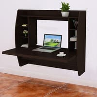 Costway Wall Mount Floating Computer Desk Storage Two Shelf Laptop Computer Home