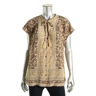 Lucky Brand Womens Silk Floral Print Button-Down Top - M