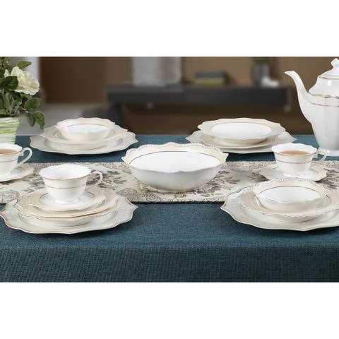 Lorren Home Trends 57 Piece Wavy Silver Mix and Match Bone China Service for 8