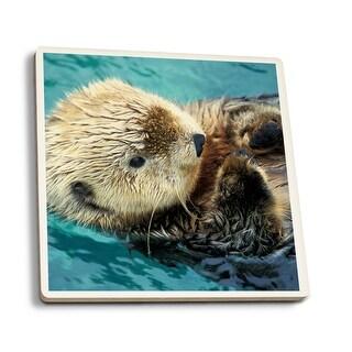 Sea Otter Up Close - LP Photography (Set of 4 Ceramic Coasters)