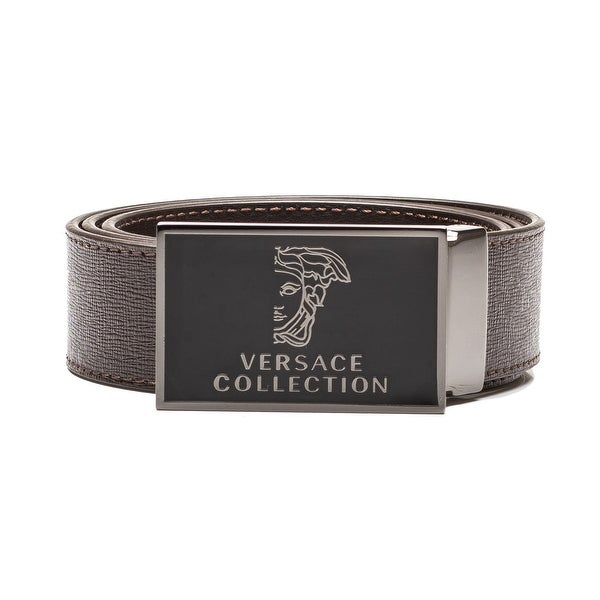 Versace Collection Men's Medusa Head Saffiano Leather Belt Brown Steel