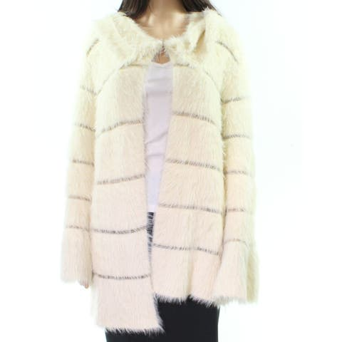 Sioni Gold Womens Faux Fur Open Front Cardigan
