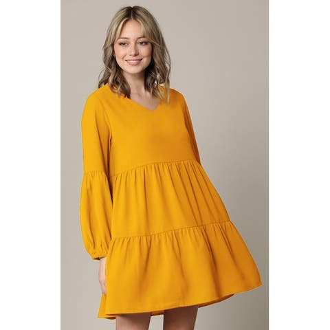 Made By Johnny Casual Flowy Swing Shift Long Sleeve Tiered Dress