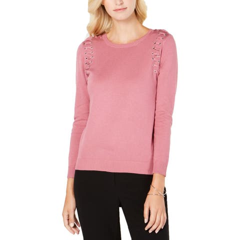 NY Collection Womens Petites Pullover Sweater Lace-Up Crewneck - PXS