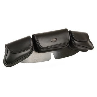 Large 3 Pocket Black PVC Vinyl Motorcycle Windshield Bag