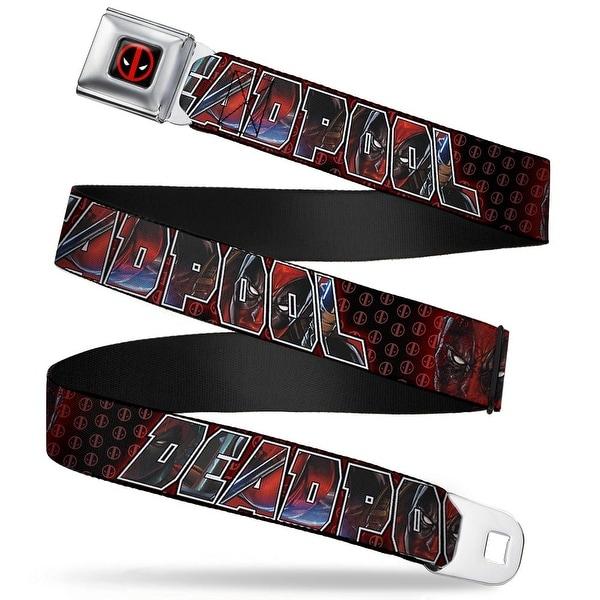 Marvel Universe Deadpool Logo Full Color Black Red White Deadpool Face Seatbelt Belt