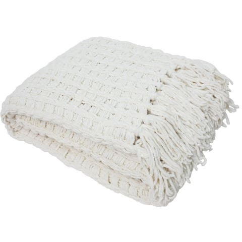 J&M Home Fashions Luxury Chenille Throw with Tassels