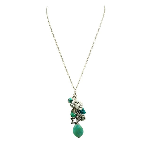 max & MO Silver and Turquoise Charm and Tassel Dangle Necklace - silver-turquoise