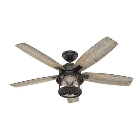 """Hunter 52"""" Coral Bay Outdoor Ceiling Fan with LED Light Kit and Handheld Remote, Damp Rated - Noble Bronze"""
