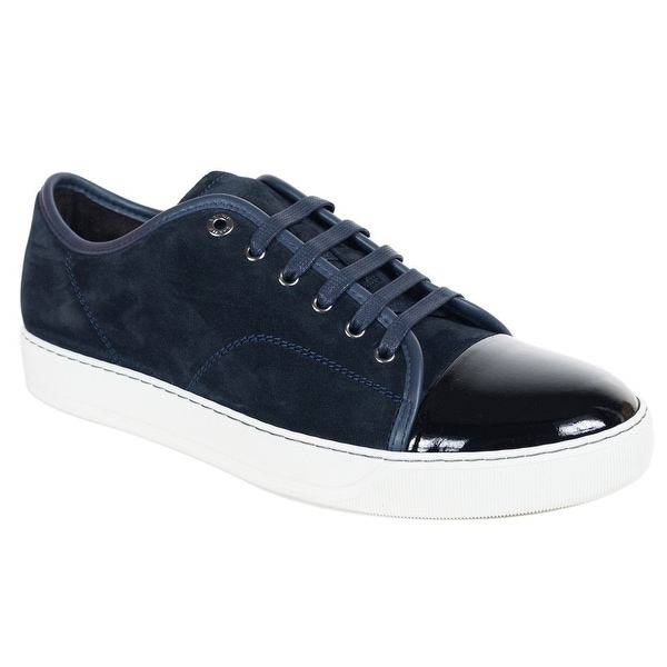 4bf848137dbc6 ... Men's Designer Shoes. Mens Lanvin Dark Blue Suede Patent Cap Lace Up  DDB1 Sneakers