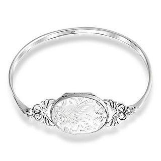 Bling Jewelry 925 Silver Etched Oval Locket Bangle Vintage Style Bracelet